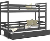 Dětská patrová postel s přistýlkou JACEK 3 190x80 cm ŠEDÁ-ŠEDÁ