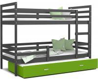 Dětská patrová postel s přistýlkou JACEK 3 190x80 cm ŠEDÁ-ZELENÁ