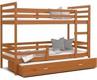 Dětská patrová postel s přistýlkou JACEK 3 190x80 cm OLŠE
