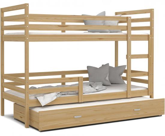 Dětská patrová postel s přistýlkou JACEK 3 190x80 cm BOROVICE