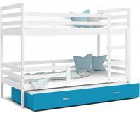 Dětská patrová postel s přistýlkou JACEK 3 200x90 cm BÍLÁ-MODRÁ