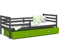 Dětská jednolůžková postel JACEK P 190x80 cm ŠEDÁ-ZELENÁ