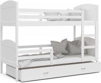 Dětská patrová postel Matyas barevná 160x80 BÍLÁ-BÍLÁ