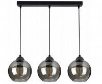 Skleněný stropní závěsný lustr tvar koule LED šedá