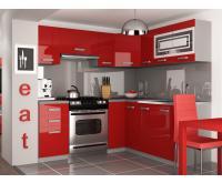 Rohová kuchyňská sestava LIDIA lesklá v červené barvě