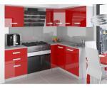 Rohová kuchyňská sestava Jovis lesklá v červené barvě