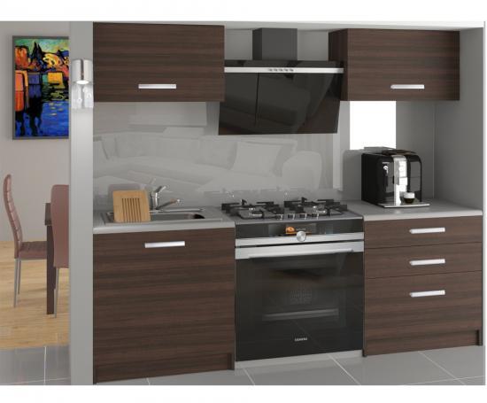 Moderní malá kuchyňská sestava TORINO VULCANO v kaštanové