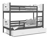 Dětská patrová postel MAX 3 80x190 cm s šedou konstrukcí v bílé barvě se srdíčky
