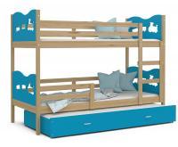 Dětská patrová postel MAX 3 90x200 cm s borovicovou konstrukcí v modré barvě s vláčky