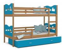 Dětská patrová postel MAX 3 90x200 cm s olše konstrukcí v modré barvě s vláčky