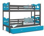 Dětská patrová postel MAX 3 90x200 cm s šedou konstrukcí v modré barvě s vláčky