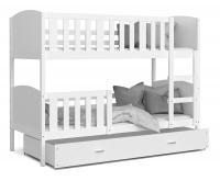 Dětská patrová postel TAMI 90x200 cm s bílou konstrukcí v bílé barvě