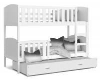 Dětská patrová postel TAMI 3 90x200 cm s bílou konstrukcí v bílé barvě s přistýlkou