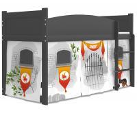 Dětská postel TWIST ANTRESOLA 80x184cm s šedou konstrukcí v šedé barvě HRAD