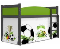 Dětská postel TWIST ANTRESOLA 80x184cm s šedou konstrukcí v zelené barvě FOTBAL