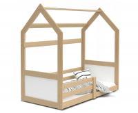 Dětská postel DOMEK HOUSE 80x190 cm v borovicovém provedení se zábranama