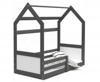 Dětská postel DOMEK HOUSE 80x190 cm v šedé barvě se zábranama