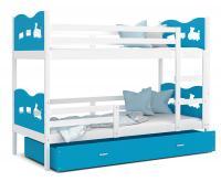 Dětská patrová postel MAX 200x90 cm s bílou konstrukcí v modré barvě s VLÁČKEM