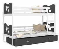 Dětská patrová postel MAX 200x90 cm s bílou konstrukcí v šedé barvě se SRDÍČKY