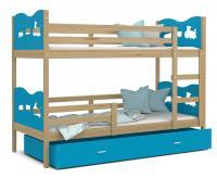 Dětská patrová postel MAX 200x90 cm s borovicovou konstrukcí v modré barvě s VLÁČKEM