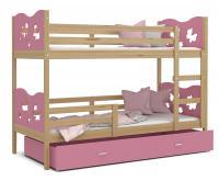 Dětská patrová postel MAX 200x90 cm s borovicovou konstrukcí v růžové barvě s MOTÝLKY