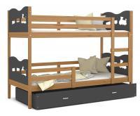 Dětská patrová postel MAX 200x90 cm s olše konstrukcí v šedé barvě s VLÁČKEM