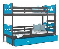 Dětská patrová postel MAX 200x90 cm s šedou konstrukcí v modré barvě s VLÁČKEM