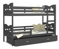 Dětská patrová postel MAX 200x90 cm s šedou konstrukcí v šedé barvě s VLÁČKEM