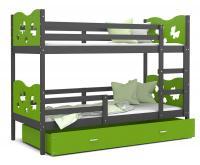 Dětská patrová postel MAX 200x90 cm s šedou konstrukcí v zelené barvě s MOTÝLKY
