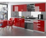 Moderní kuchyňská sestava INFINITY NEPTUN v červeném lesk. provedení