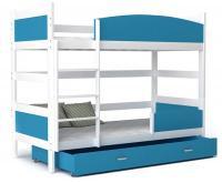 Dětská postel TWIST 80x190 cm BÍLÁ - MODRÁ Výprodej