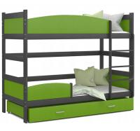 Dětská patrová postel TWIST ŠEDÁ - ZELENÁ 190x80 cm Výprodej