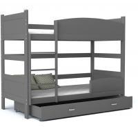 Dětská patrová postel TWIST ŠEDÁ - ŠEDÁ 190x80 cm Výprodej