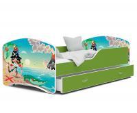 Dětská postel IGOR zelená s motivem piráta 180x80cm VÝPRODEJ