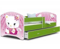 Dětská postel LUCKY ZELENÁ vzor kočičky 140x80cm VÝPRODEJ