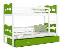 Dětská patrová postel MAX 190x80 cm s bílou konstrukcí v zelené barvě s VLÁČKEM VÝPRODEJ