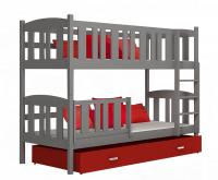 Dětská patrová postel se šuplíkem KUBU ŠEDÁ-ČERVENÁ 190x80cm VÝPRODEJ