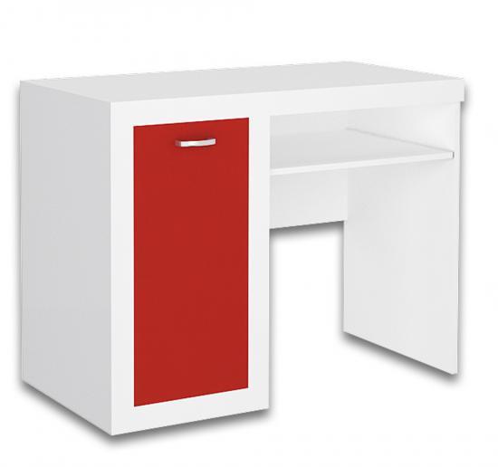 Stůl se skřínkou FILIP v barevném provedení BÍLÁ - ČERVENÁ VÝPRODEJ
