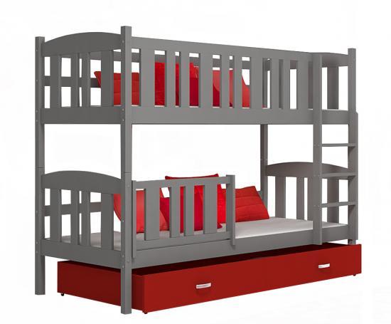 Dětská patrová postel se zábranou TWIST 190x90 ŠEDÁ-ČERVENÁ VÝPRODEJ
