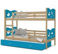 Dětská patrová postel MAX 3 s MOTÝLKY 80x190 cm VYPRODEJ