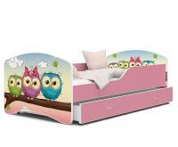 Dětská postel IGOR  80x160  cm v růžové barvě se šuplíkem SOVIČKY VYPRODEJ