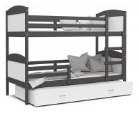 Dětská patrová postel s přistýlkou MATYAS 3 ŠEDÁ-BÍLÁ VYPRODEJ