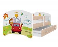 Dětská postel LUCKY 160x80cm BOROVICE vzor ZVÍŘATKA V AUTĚ VYPRODEJ