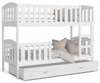 Dětská patrová postel KUBU 160x80 cm BÍLÁ BÍLÁ VÝPRODEJ