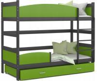 Patrová postel TWIST ŠEDÁ / ZELENÁ 190x80cm VÝPRODEJ