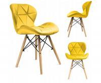 Moderní prošívaná kožená židle ŽLUTÁ