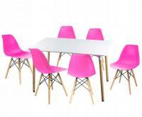 Moderní set židle se stolem RŮŽOVÁ (6 židlí, 1 stůl)