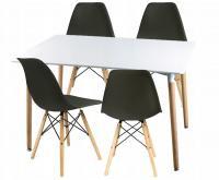 Moderní set židle se stolem ČERNÁ (4 židle, 1 stůl)