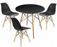 Moderní set židle se stolem ČERNÁ - ČERNÁ (3 židle, 1 stůl)