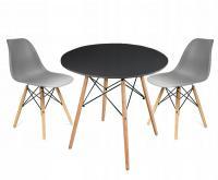 Moderní set židle se stolem ŠEDÁ (2 židle, 1 stůl)